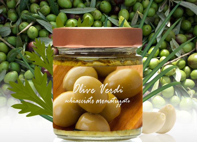 Olive Verdi Schiacciate Aromatizzate